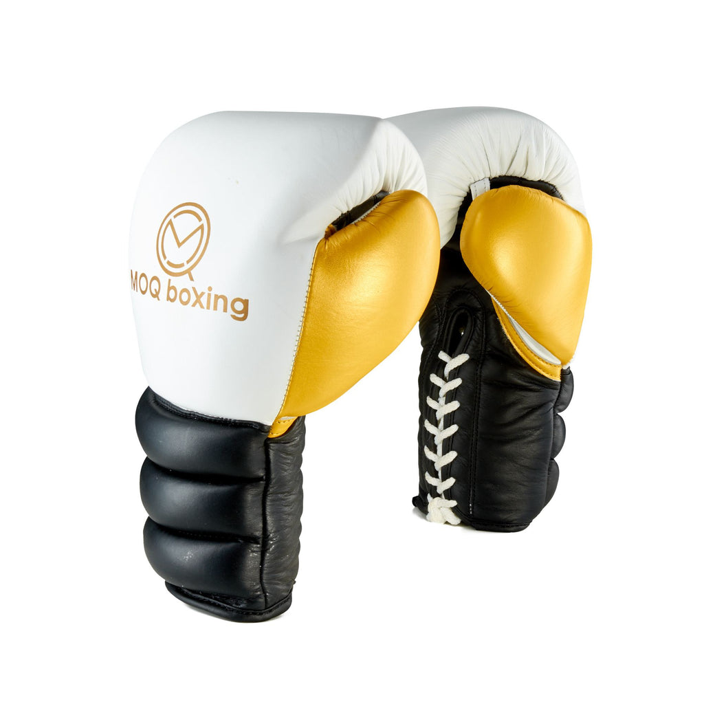 MOQ LINEAL genuine cow hide leather Lace Up Boxing Gloves