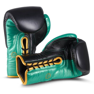 MOQ X1 Black & Green Metallic Lace Up Boxing Gloves - MOQ boxing