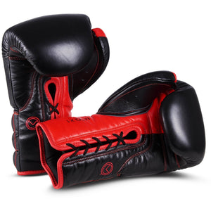 MOQ X1 Black & Red Lace Up Boxing Gloves - MOQ boxing