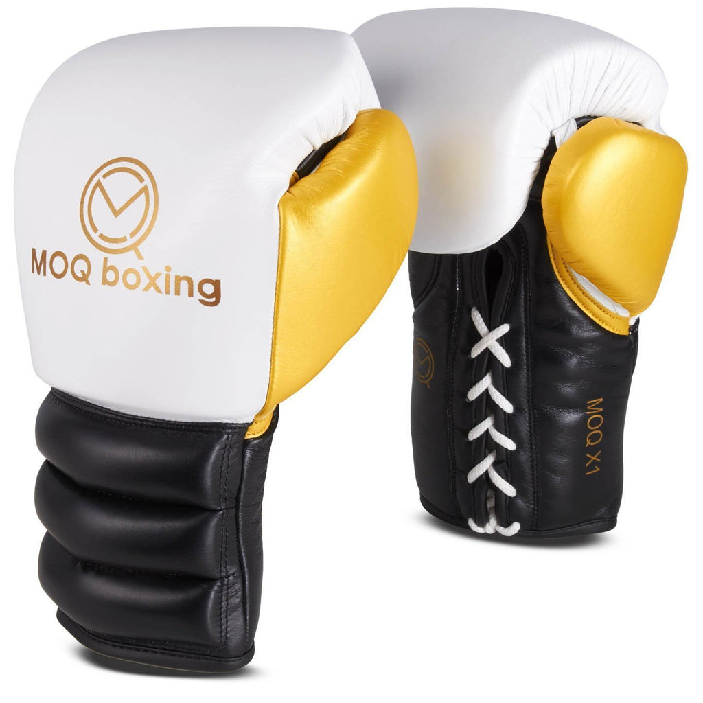MOQ X1 Black, White & Gold Lace Up Boxing Gloves - MOQ boxing