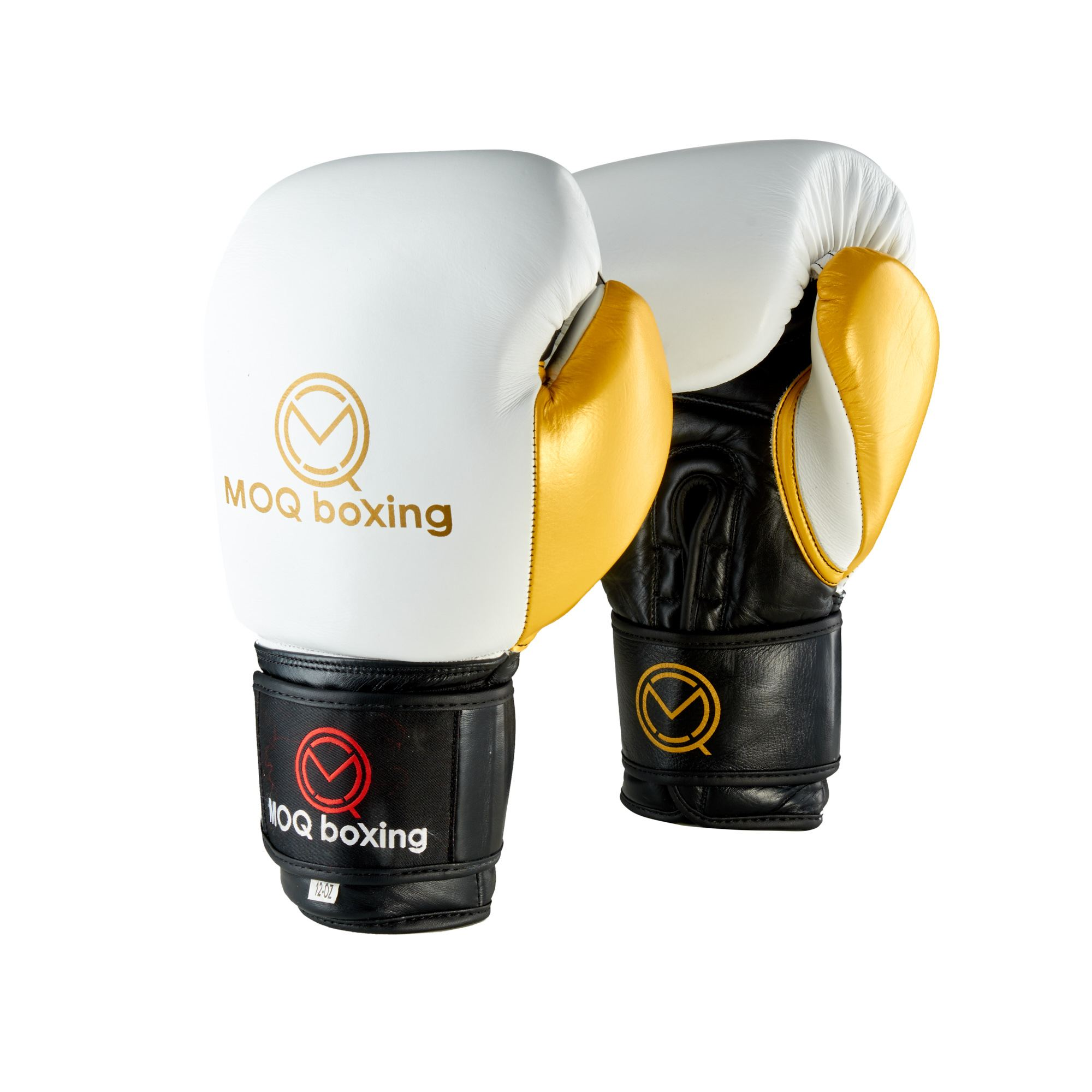 MOQ X1 Black, White & Gold Velcro Boxing Gloves - MOQ boxing
