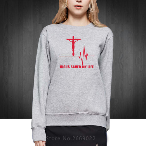 ec24a3183362c New Jesus Saved My Life Women Sweatshirts Savior God Religion Prayer Faith  Christian Lady Girls Cotton
