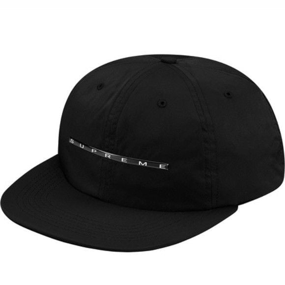 Supreme Chrome Stripe 6 Panel Hat Black