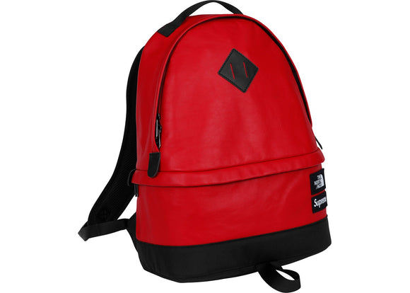 Supreme North Face Leather Day Pack Red