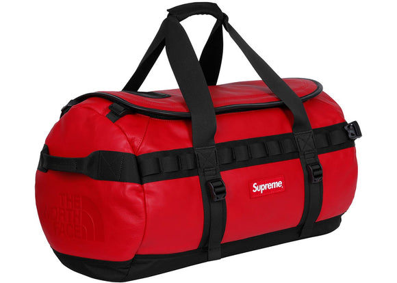 Supreme North Face Leather Vase Camp Duffle  Red