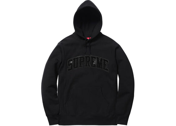 Supreme Patent Leather Arc Logo Hoodie Black