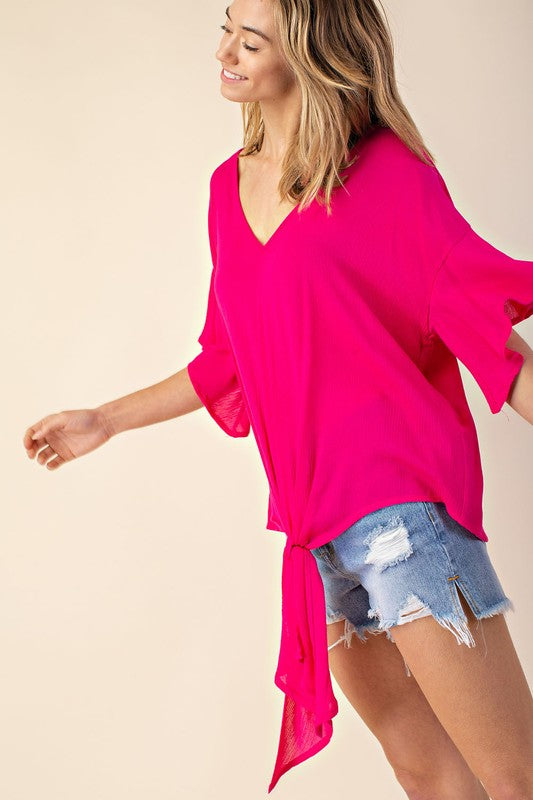 BOMBSHELL TIE TOP IN HOT PINK