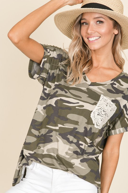 LET'S BE FRIENDS CAMO TOP