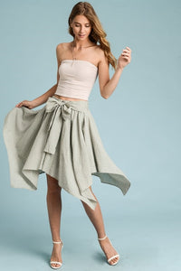 LEVANNA STRIPED RUFFLE WRAP SKIRT