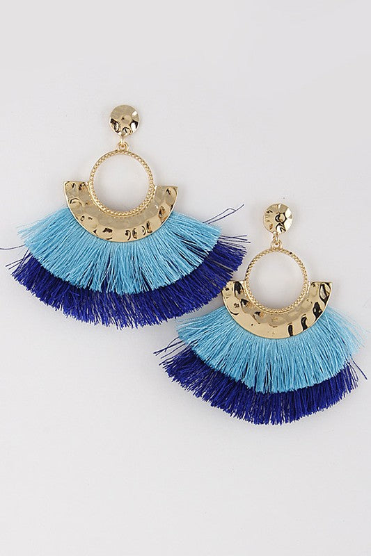 LET'S PARTY BLUE TASSEL EARRINGS