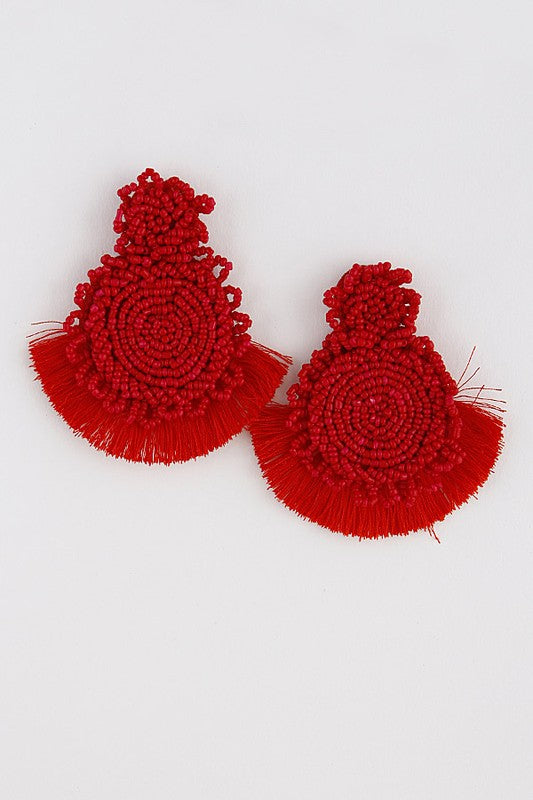 HOT DATE BEADED RED TASSEL EARRINGS