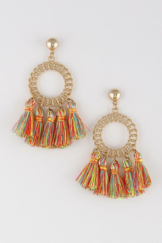 MAKE A STATEMENT RAINBOW TASSEL EARRINGS
