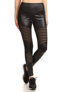 FAUX LEATHER SKIN STRIPED LEGGINGS