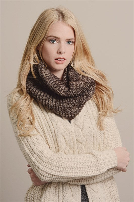 BROWN VENEVA INFINITI KNIT SCARF