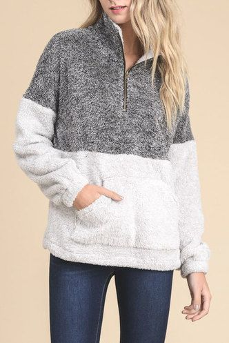 CHARCOAL/LIGHT GRAY SHERPA PULLOVER