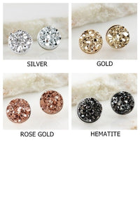 BEAUTIFULLY ELEGANT ROUND DRUZY POST EARRINGS