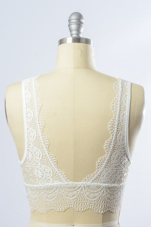 MARY LACE BRALETTE- WHITE