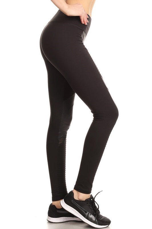 BLACK LEATHER STYLE MOTO LEGGINGS