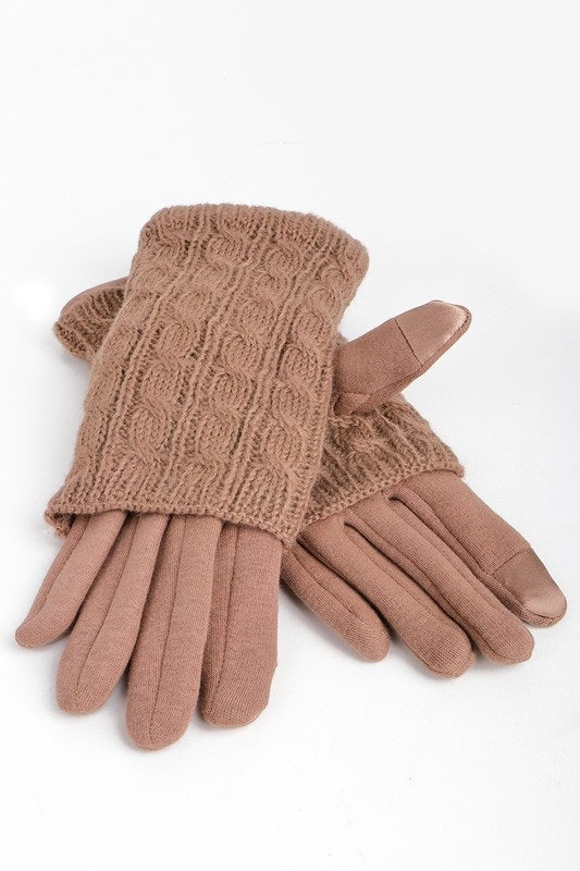 LAYERED CABLE KNIT TAUPE GLOVE