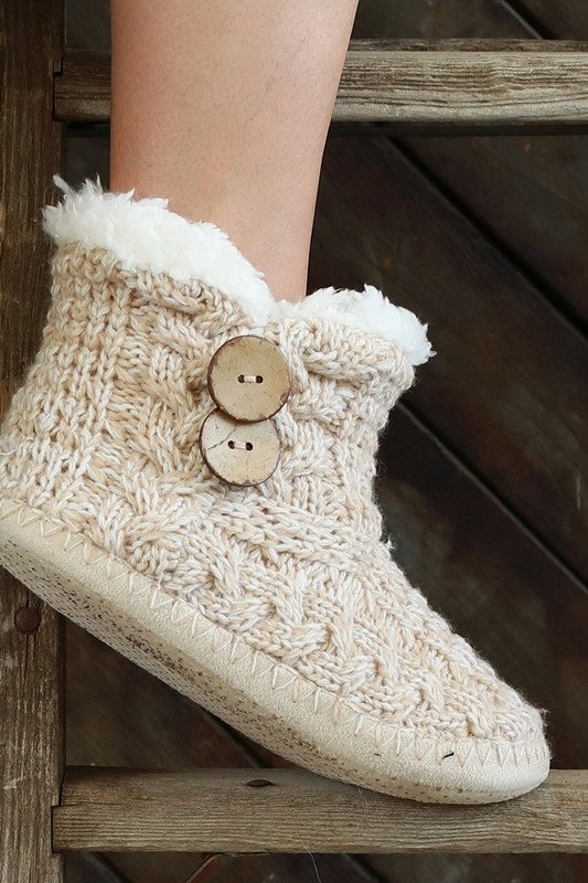 OATMEAL COCONUT BUTTON MICROFIBER SLIPPER BOOTS