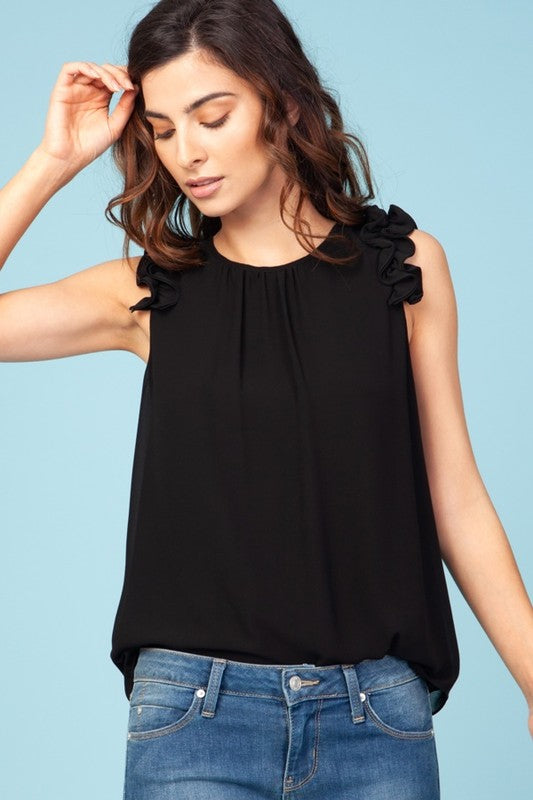 RUFFLE MY LOVE BLOUSE BLACK