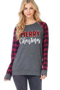 PLAID MERRY CHRISTMAS SWEATER