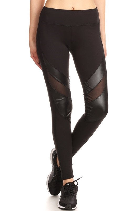 YOGA FAUX LEATHER LEGGINGS TRENDY MESH SPORTS LEGGINGS