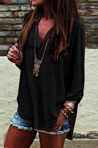 BLACK CHIFFON V-NECK TOP