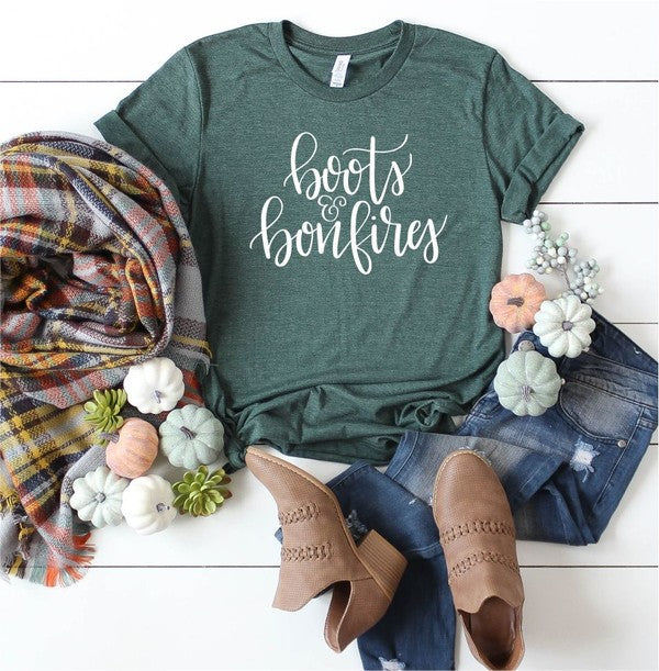 BOOTS AND BONFIRES GRAPHIC TEE