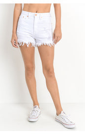 ZAYLA WHITE FRAYED JBD SHORTS