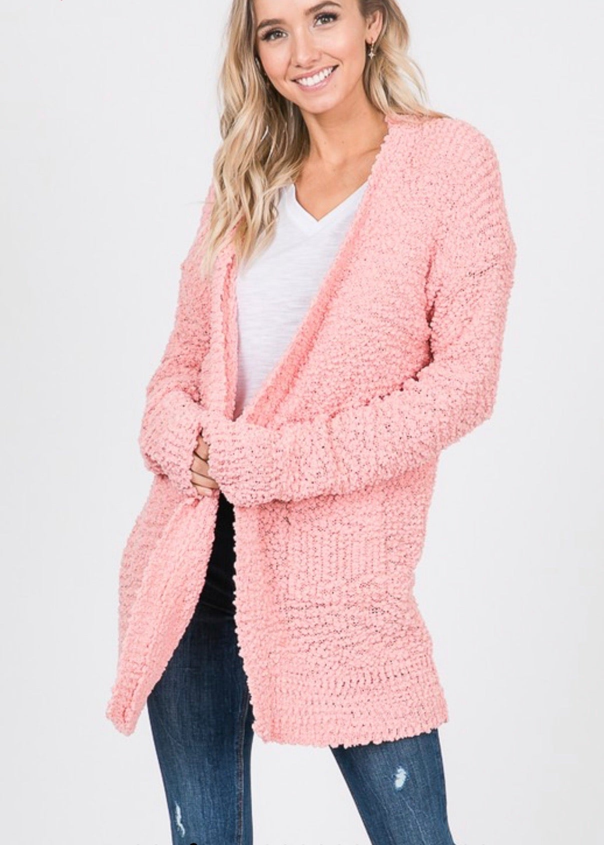 LIGHT PINK POPCORN CARDIGAN