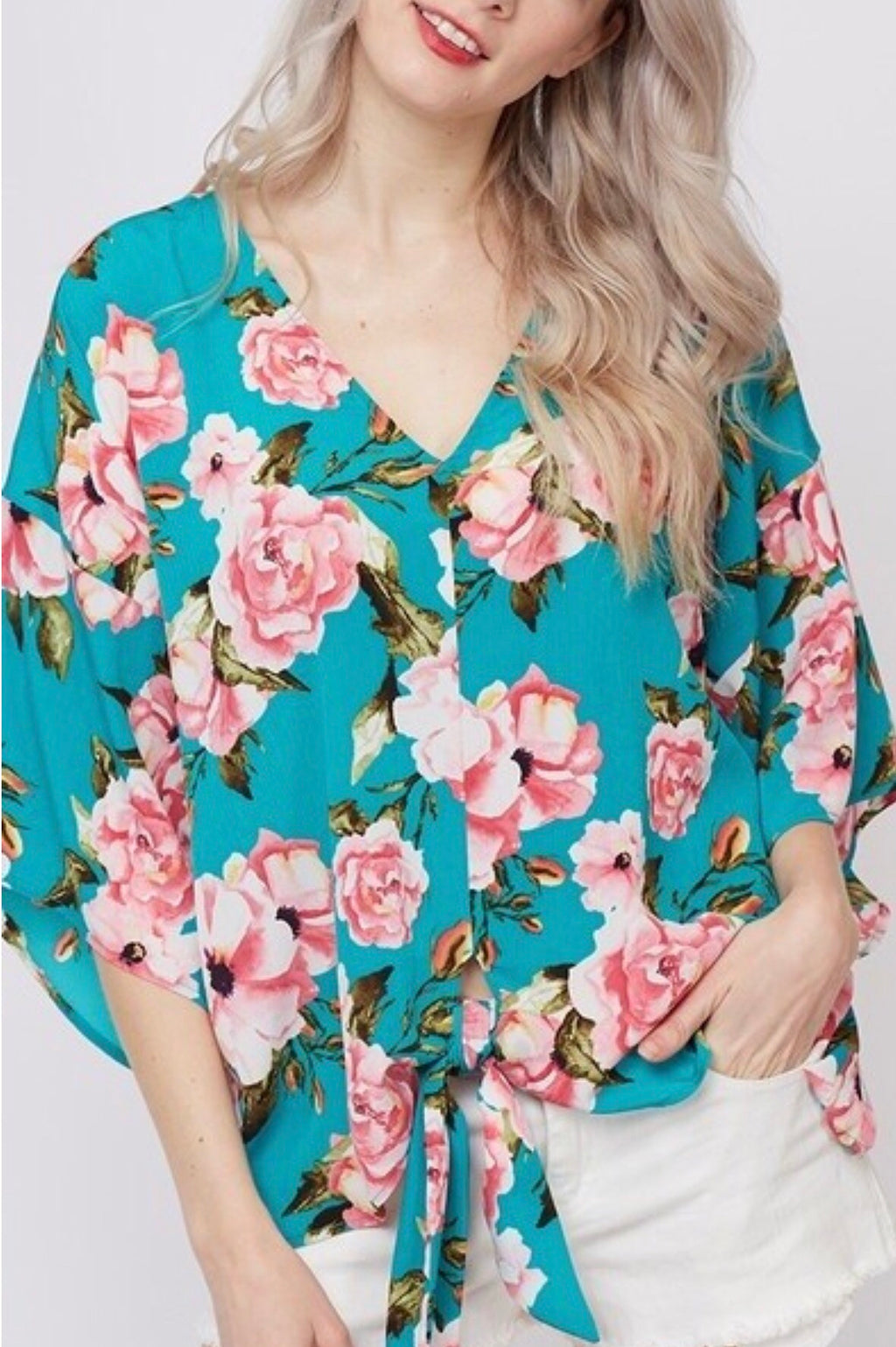 SPRING FRONT TIE FLORAL TOP