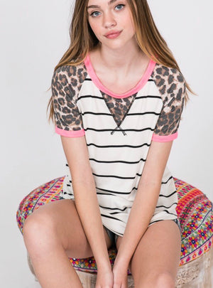 STRIPED LEOPARD TEE
