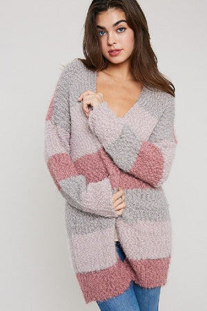 POPCORN COLOR BLOCK CARDIGAN