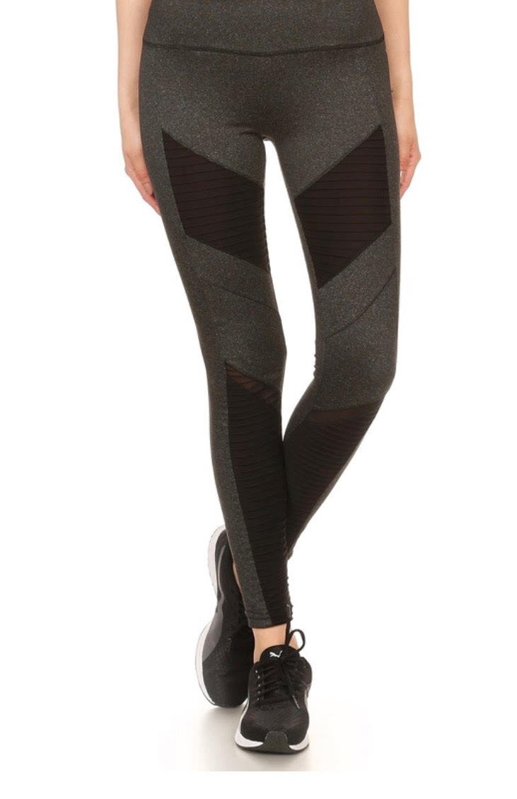 GRAY MOTO LEGGINGS