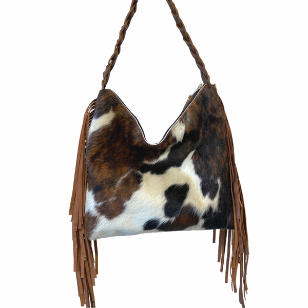 Tricolor cowhide leather bag with fringe