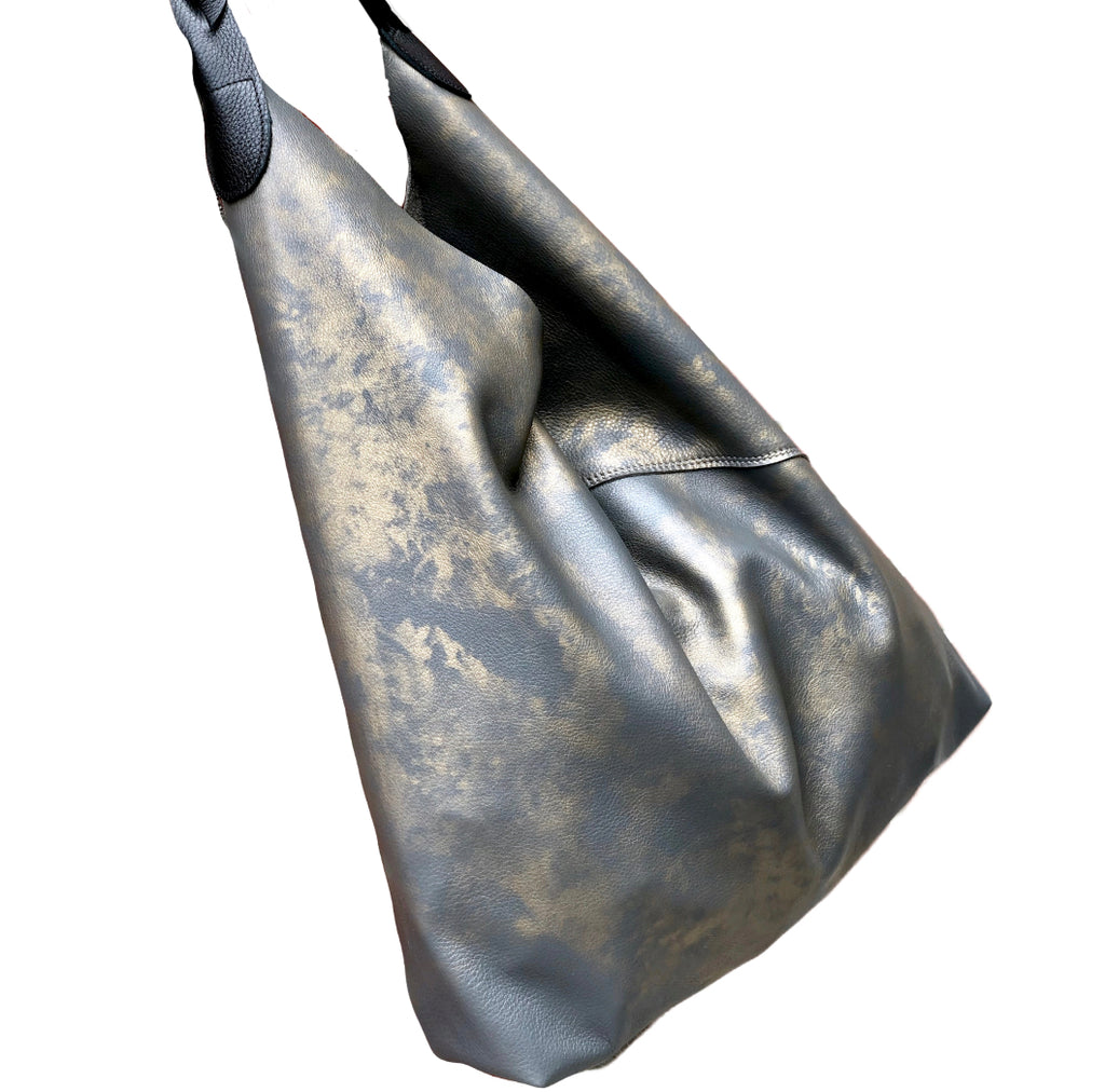 Gray and gold shoulder bag