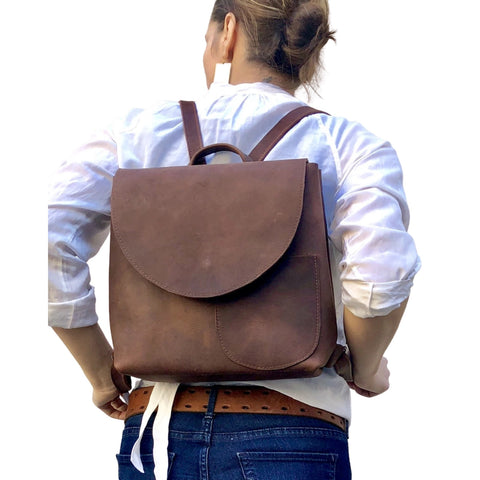 Small brown backpack, travel bag