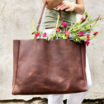 Brown leather tote, wide  / Large Leather Shopper Bag