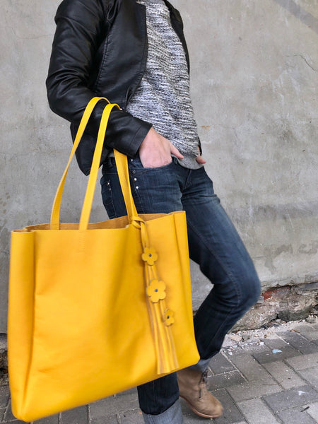 Yellow leather tote, Large work and travel bag