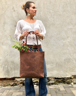 Tall leather tote / Medium leather bag / Brown Handbag