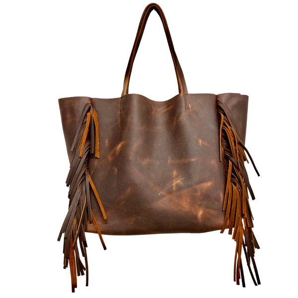 Vintage brown leather tote with side fringe