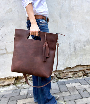 Tall crossbody leather tote bag Unique handmade purse