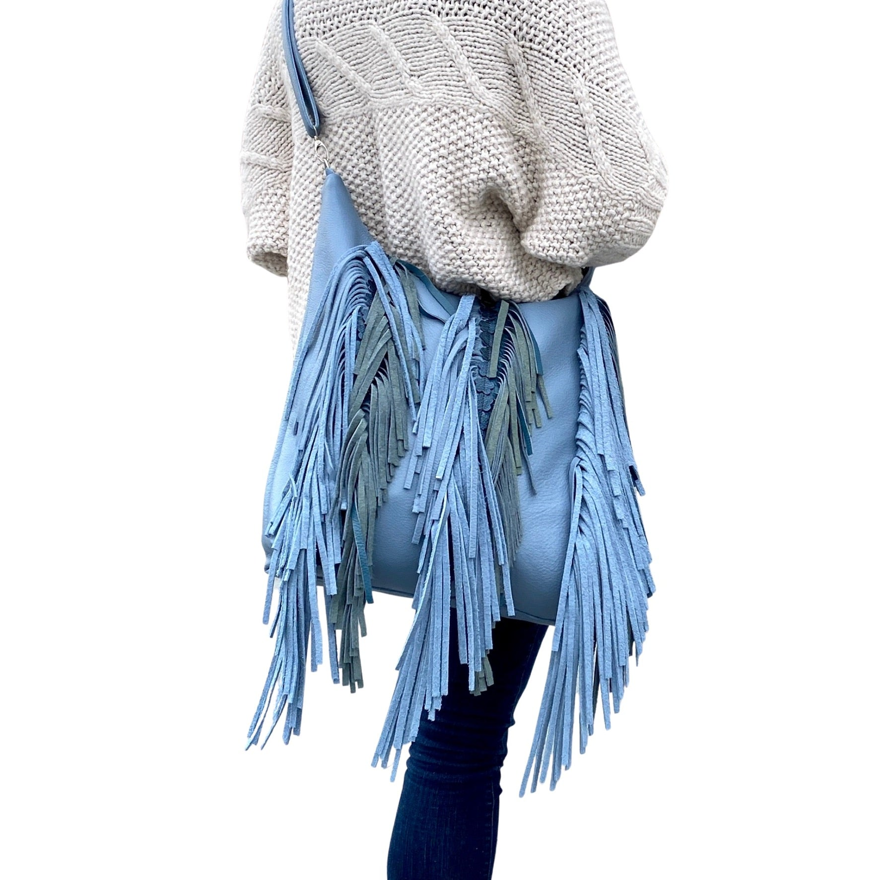 Blue crossbody leather bag with fringe