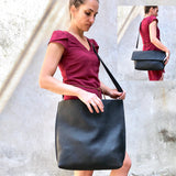 Black Leather Tote / Fold over clutch