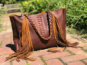 Brown, boho chic braided leather bag