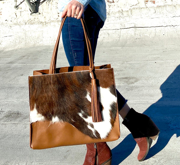 Cowhide leather tote, brown leather