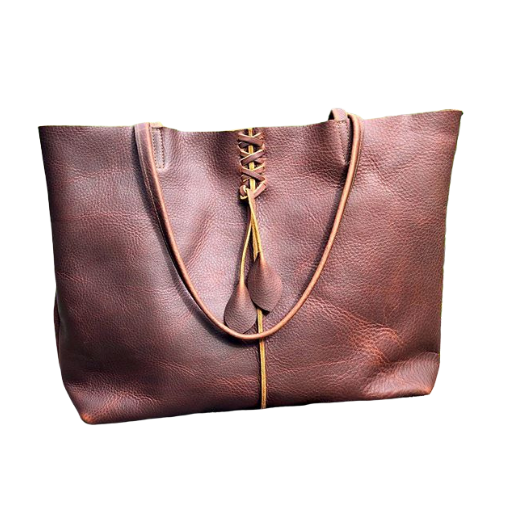 Brown leather bag with leaf detail -Large