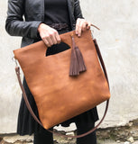 Tall crossbody leather tote bag Cognac Unique handmade purse