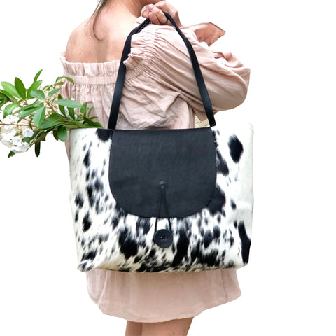 White cowhide leather tote, Work and travel leather bag